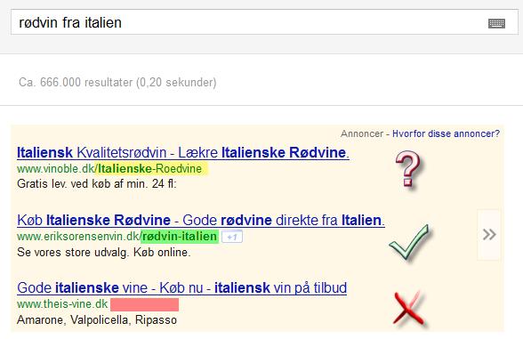 Annonceret Webadresse Display URL ÆØÅ