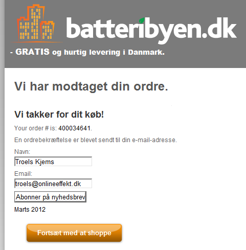 Batteribyen.dk - Nyhedsbrev efter koeb