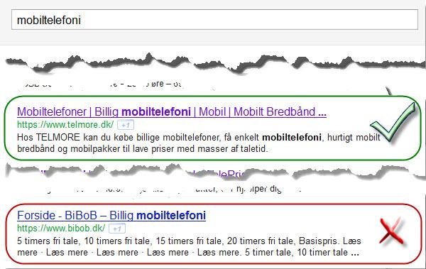 Mobiltelefoni Title tags og meta descriptions